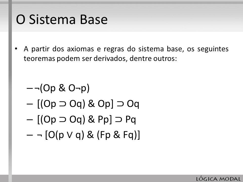 O Sistema Base ¬(Op & O¬p) [(Op ⊃ Oq) & Op] ⊃ Oq [(Op ⊃ Oq) & Pp] ⊃ Pq